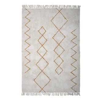 Bloomingville Vloerkleed Huso naturel katoen met oker grafisch patroon