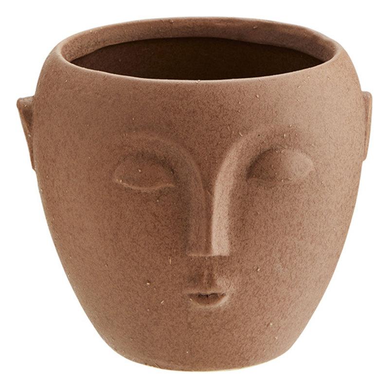 Madam Stoltz-collectie Flowerpot with face beige 15 cm - Copy - Copy