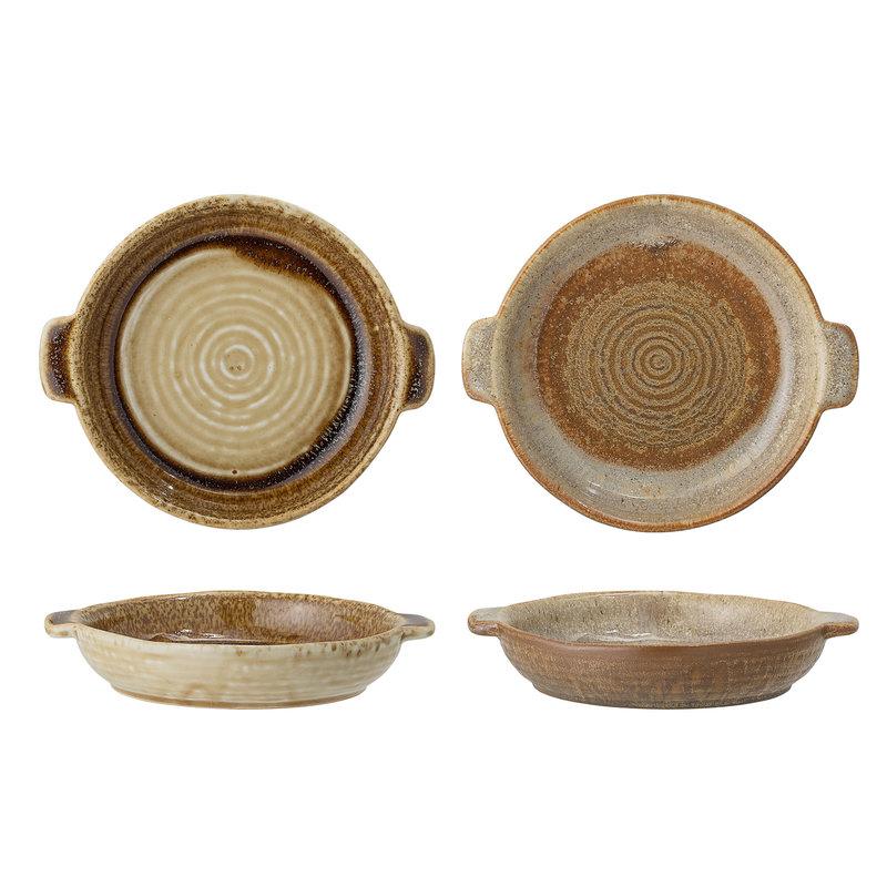 Bloomingville-collectie Handgemaakte serveerschalen rond Willow set van 2