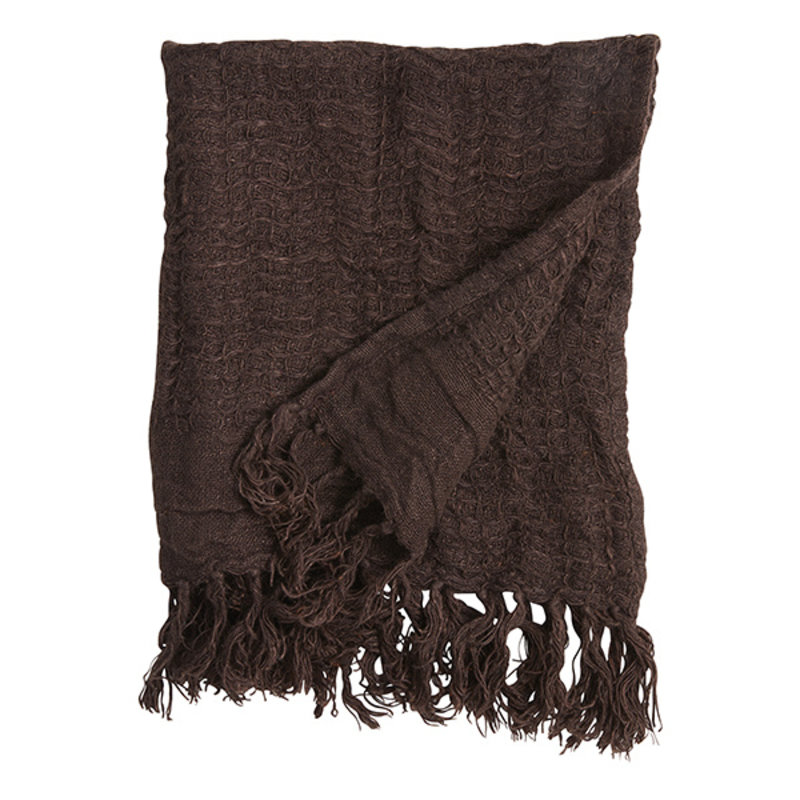 Nordal-collectie ARIES towel w/fringes,S, linen, brown