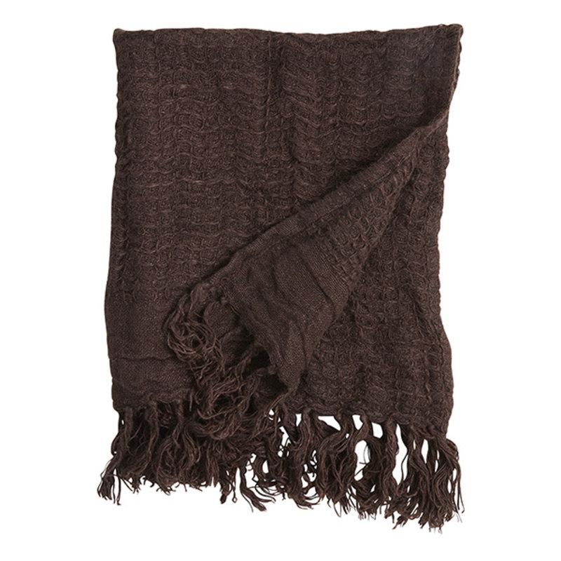 Nordal-collectie Handdoek ARIES met franjes S linnen bruin