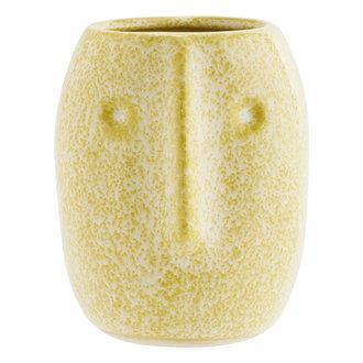 Madam Stoltz Flower pot w/ face imprint yellow