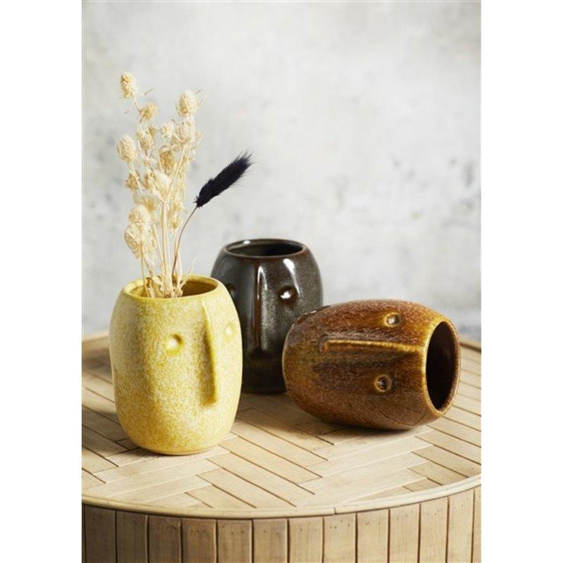 Madam Stoltz-collectie Flower pot w/ face imprint yellow