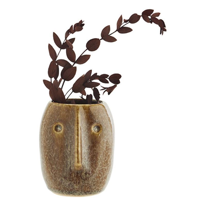 Madam Stoltz-collectie Flower pot w/ face imprint brown