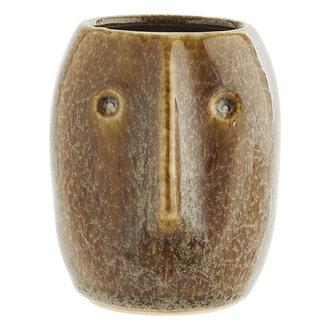 Madam Stoltz Flower pot w/ face imprint brown