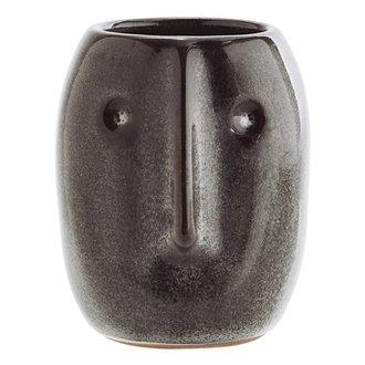 Madam Stoltz Flower pot w/ face imprint dark petrol