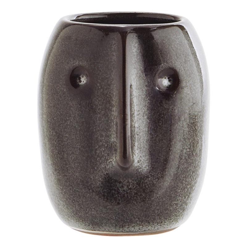 Madam Stoltz-collectie Bloempot met gezicht donker petrol 10 cm