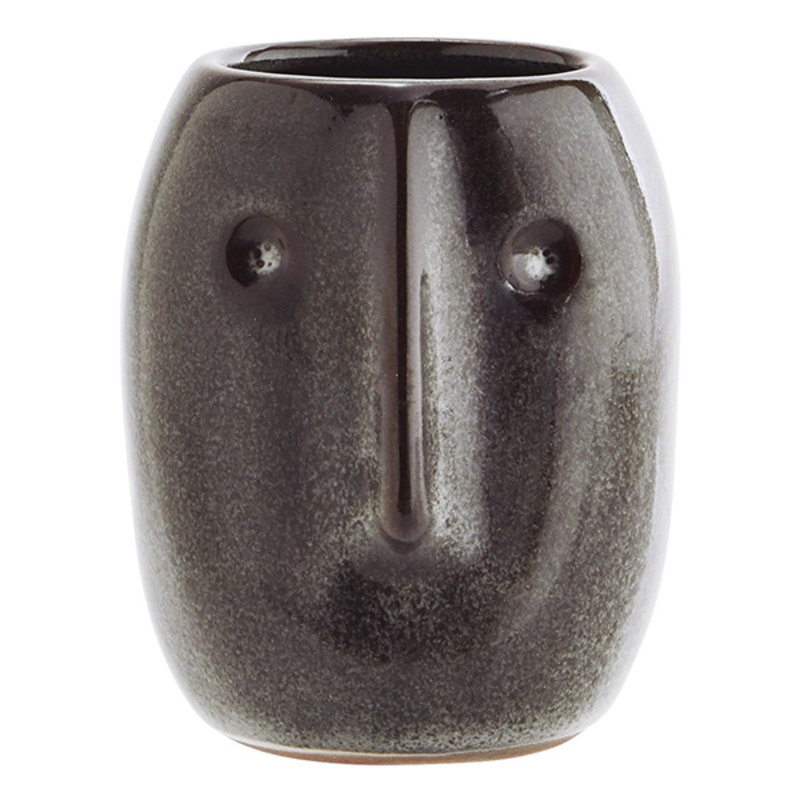 Madam Stoltz-collectie Flower pot w/ face imprint dark petrol
