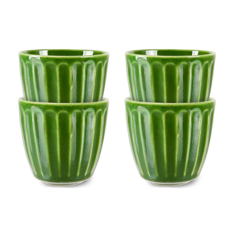 HKliving-collectie the emeralds: ceramic mug ribbed, green (set of 4)