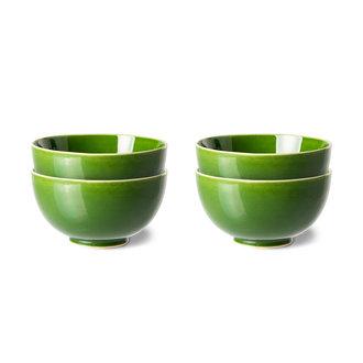 HKliving the emeralds: ceramic dessert bowl, green (set of 4)