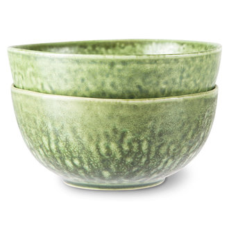 HKliving the emeralds: ceramic bowl organic, green (set of 2)