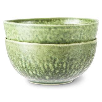 HKliving The emeralds keramiek schaal organic groen (set van 2)