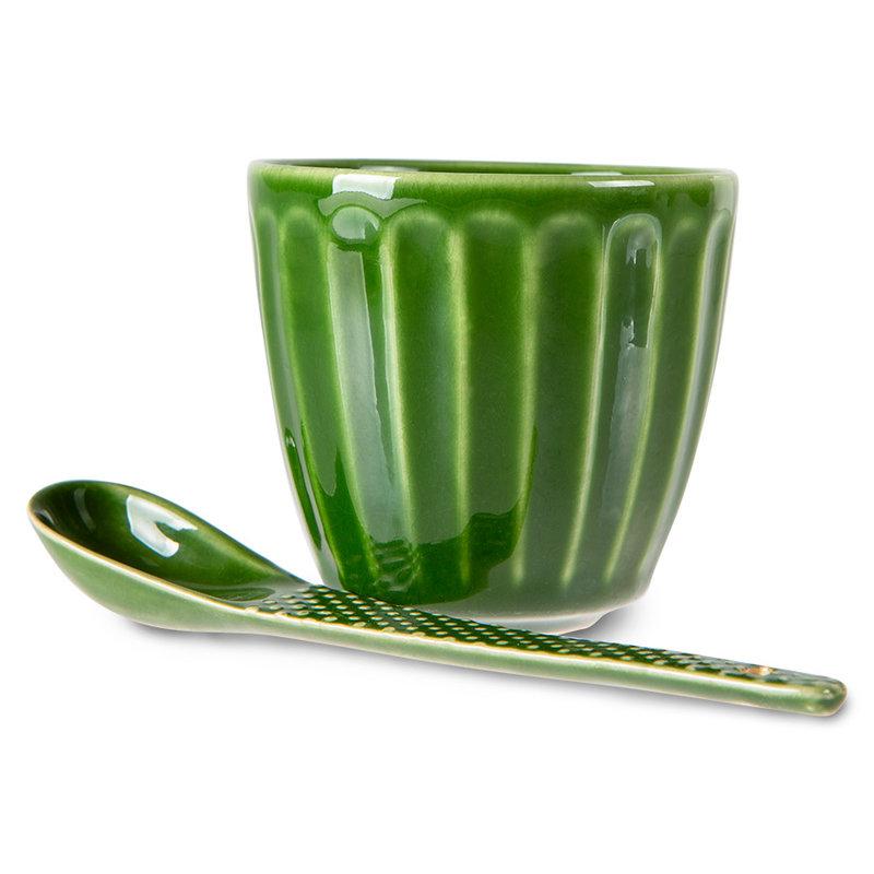 HKliving-collectie The emeralds keramiek lepel textured groen (set van 4)