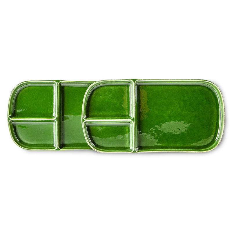 HKliving-collectie the emeralds: ceramic plate rectangular, green (set of 2)
