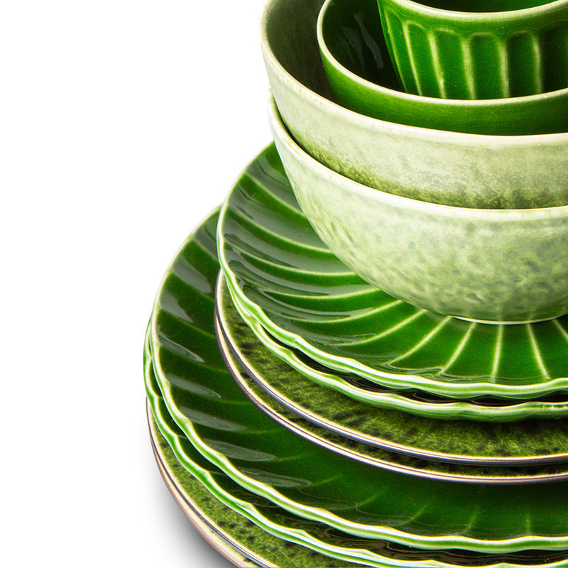 HKliving-collectie The emeralds keramiek bord rectangular groen (set van 2)