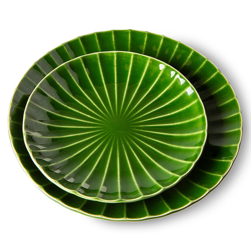 HKliving-collectie The emeralds keramiek bijgerecht bord ribbed groen (set van 2)