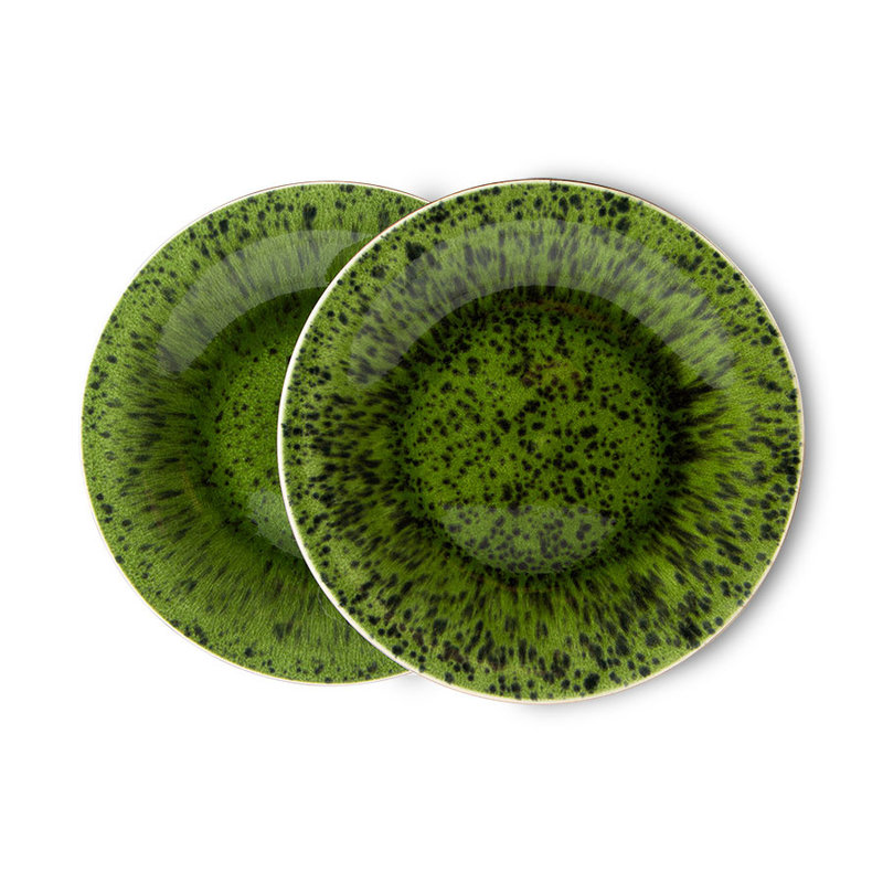 HKliving-collectie the emeralds: ceramic side plate spotted, green (set of 2)