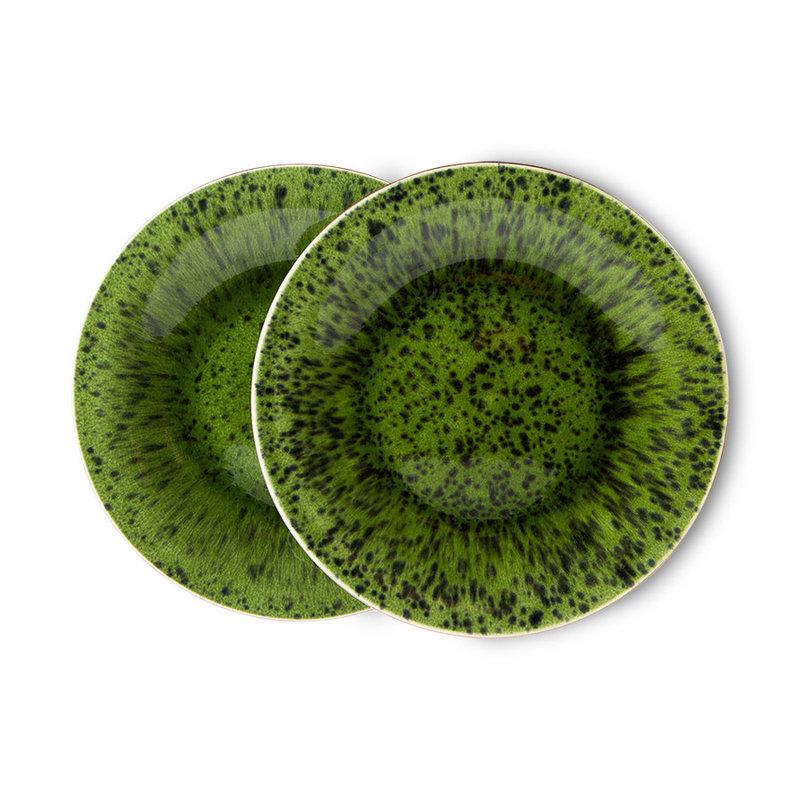 HKliving-collectie The emeralds keramiek bijgerecht bord spotted groen (set van 2)