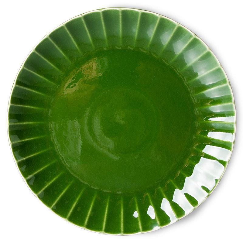 HKliving-collectie The emeralds keramiek dinerbord ribbed groen (set van 2)