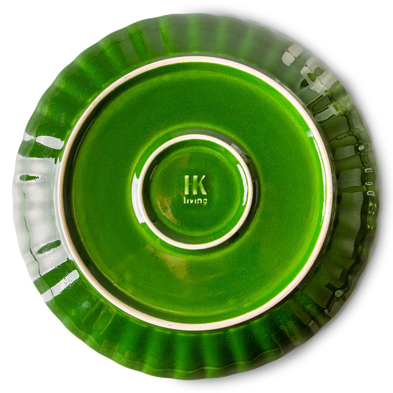 HKliving-collectie the emeralds: ceramic dinner plate ribbed, green (set of 2)