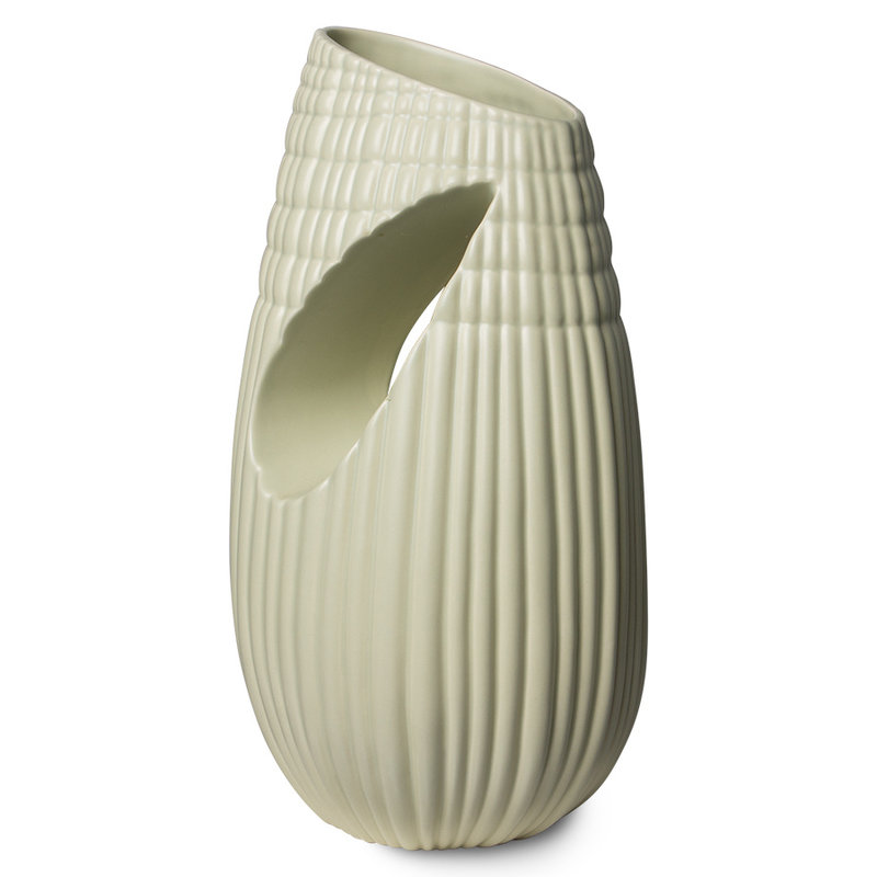 HKliving-collectie HK objects: ceramic ribbed vase matt minty