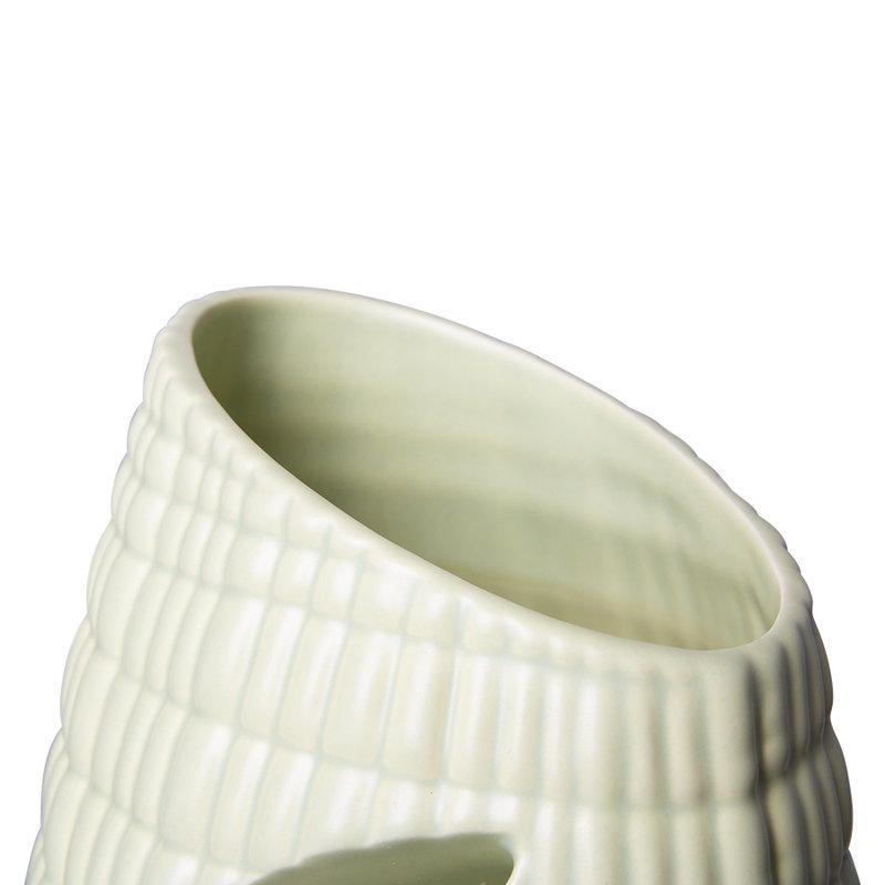 HKliving-collectie Ribbed vaas keramiek matt minty