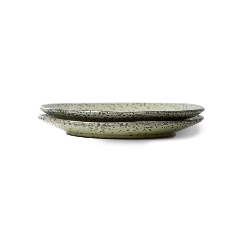 HKliving-collectie gradient ceramics: dessert plate green (set of 2)