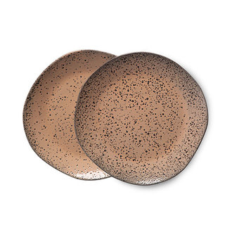 HKliving Gradient keramiek dessertbord taupe (set van 2)