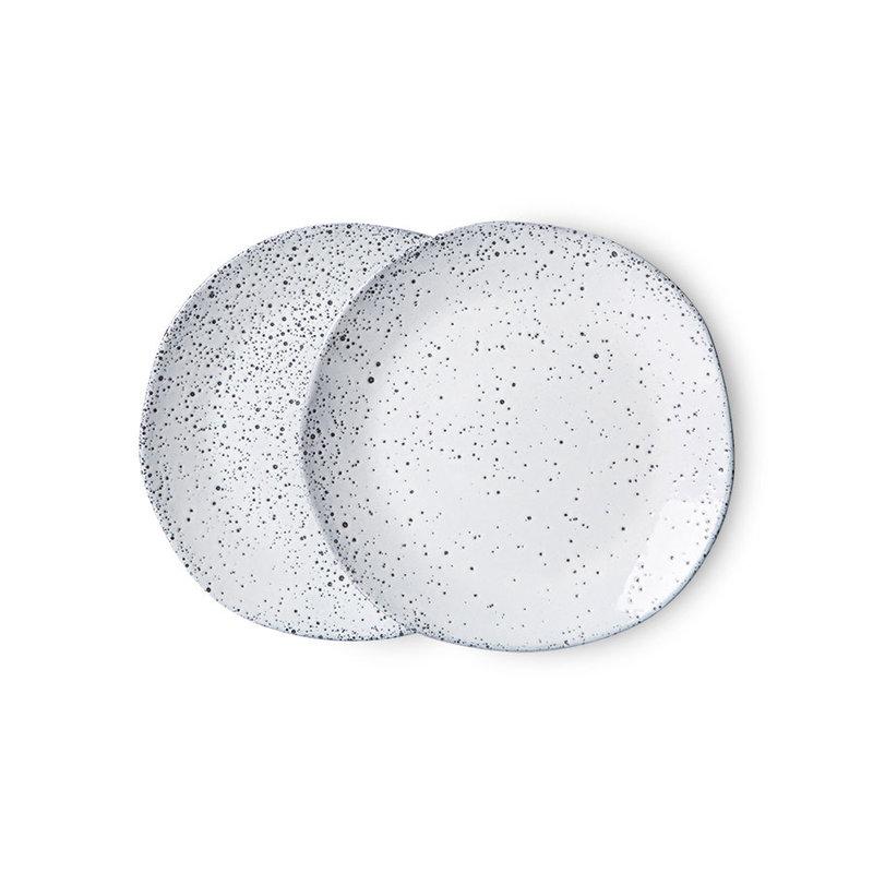 HKliving-collectie Gradient keramiek dessertbord creme (set van 2)