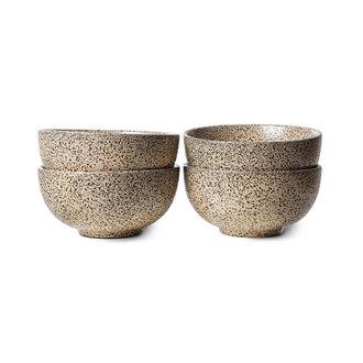 HKliving Gradient keramiek schaal taupe (set van 4)