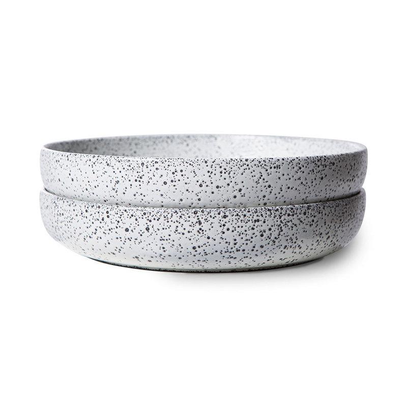 HKliving-collectie Gradient keramiek diep bord creme (set van 2)