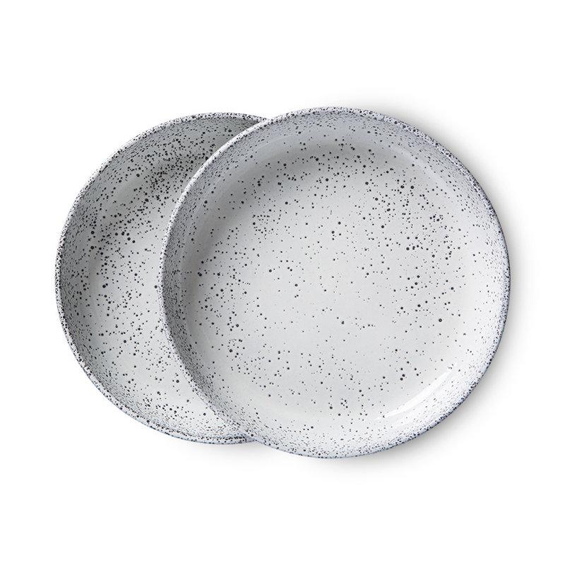 HKliving-collectie gradient ceramics: deep plate cream (set of 2)