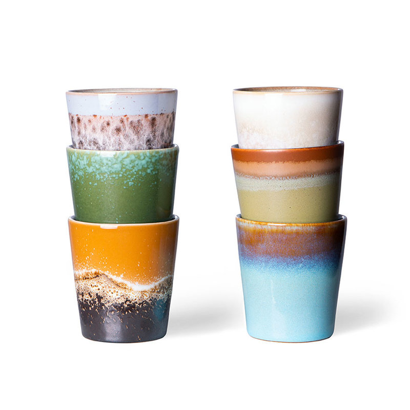 HKliving-collectie 70s ceramics: coffee mugs (set of 6)