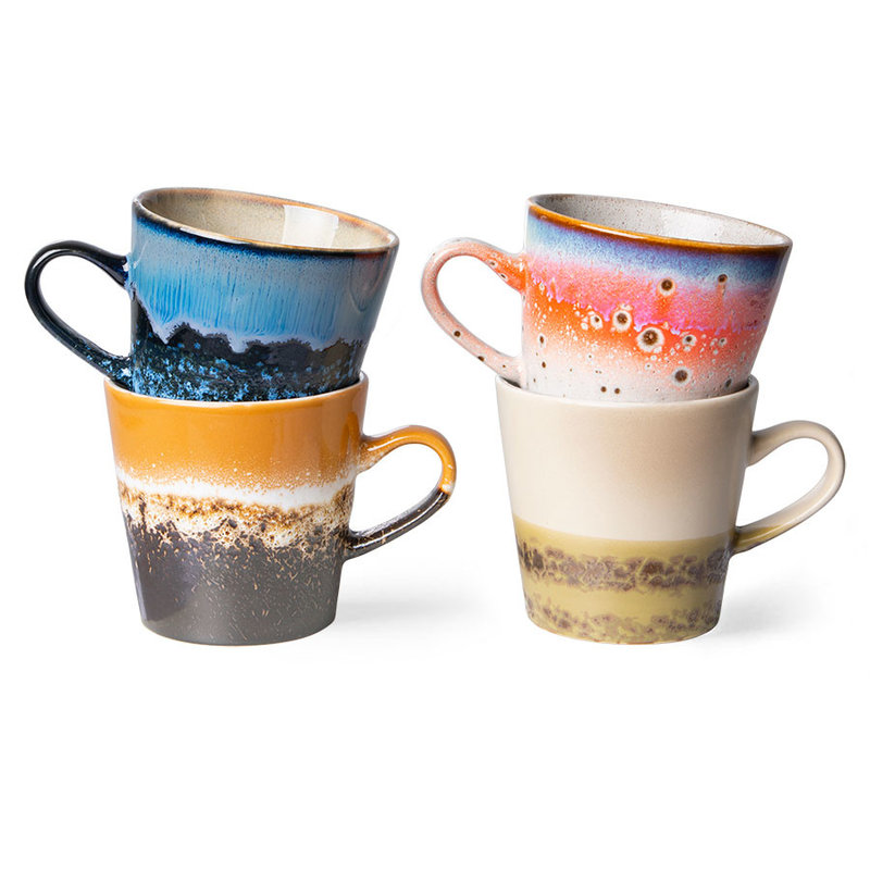 HKliving-collectie 70s ceramics: americano mugs (set of 4)