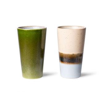 HKliving 70s ceramics: latte mugs (set of 2)