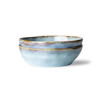 HKliving 70s ceramics: pasta bowls, lagune (set of 2)