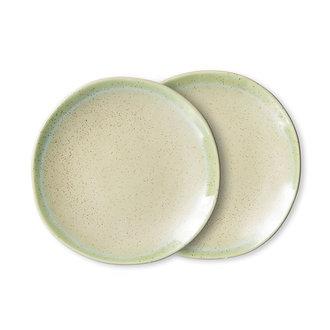 HKliving 70s ceramics: side plates, pistachio (set of 2)
