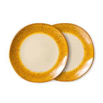 HKliving 70s ceramics: side plates, autumn (set of 2)