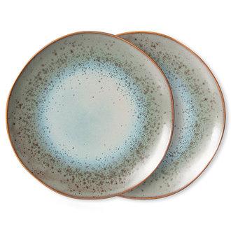 HKliving 70s ceramics: dinner plates, mineral (set of 2)