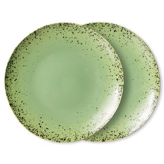 HKliving 70s ceramics: dinner plates, kiwi (set of 2)
