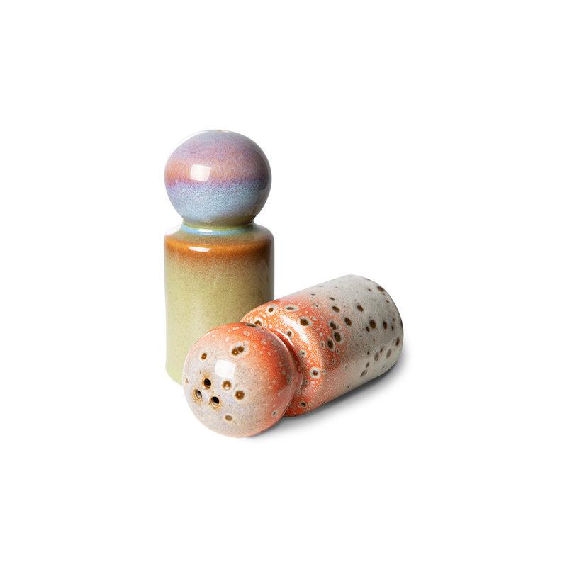 HKliving-collectie 70s ceramics: peper & salt jar, asteroids/peat