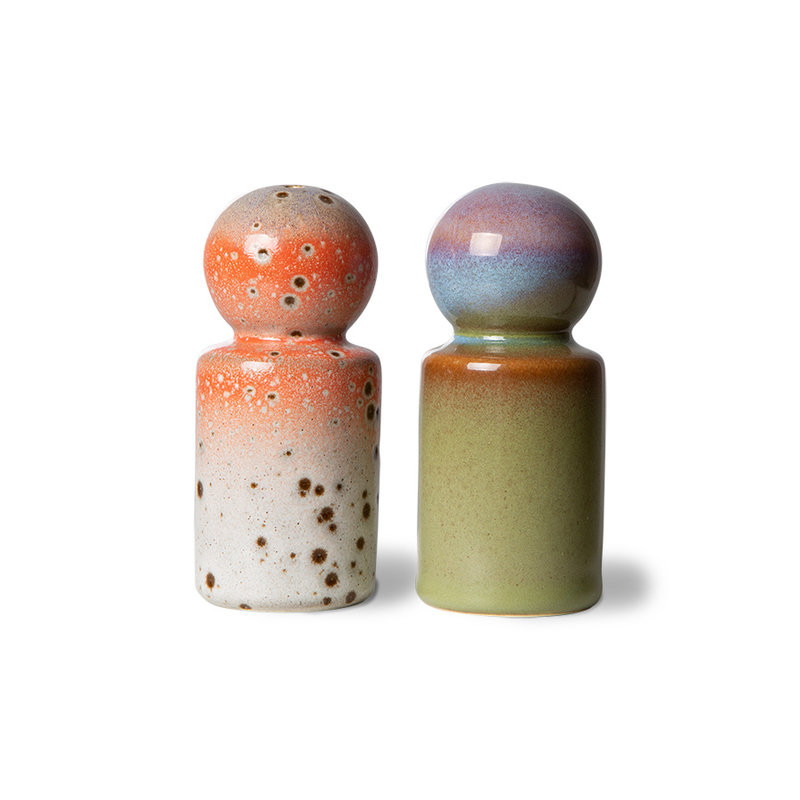 HKliving-collectie 70s servies peper & salt jar asteroids/peat