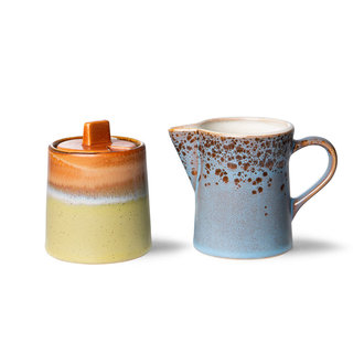 HKliving 70s servies milk jug & sugar pot berry/peat