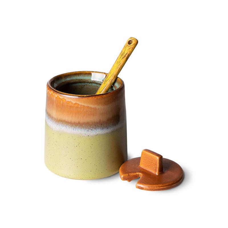 HKliving-collectie 70s ceramics: milk jug & sugar pot, berry/peat