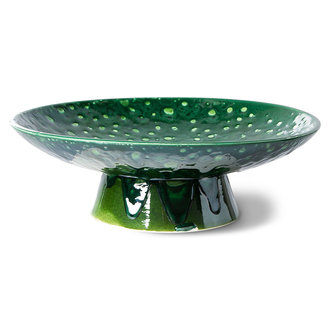 HKliving the emeralds: ceramic bowl on base L dripping green