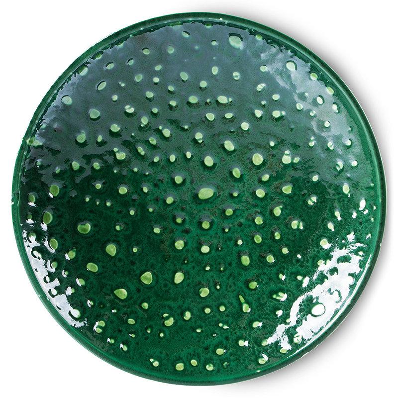HKliving-collectie The emeralds keramiek schaal on base L dripping groen