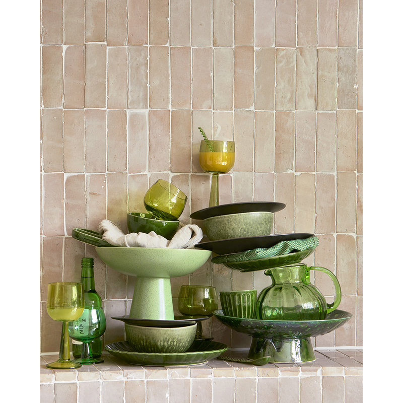 HKliving-collectie the emeralds: ceramic bowl on base L dripping green