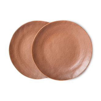HKliving Bold & basic keramieks bijgerecht bord bruin (set van 2)