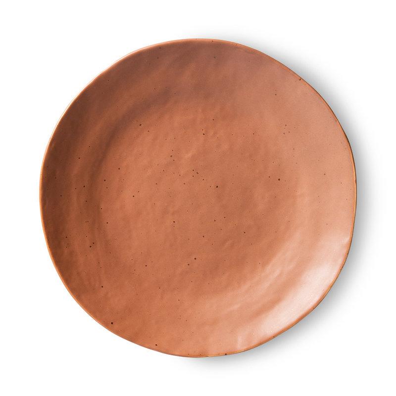 HKliving-collectie Bold & basic keramieks bijgerecht bord bruin (set van 2)