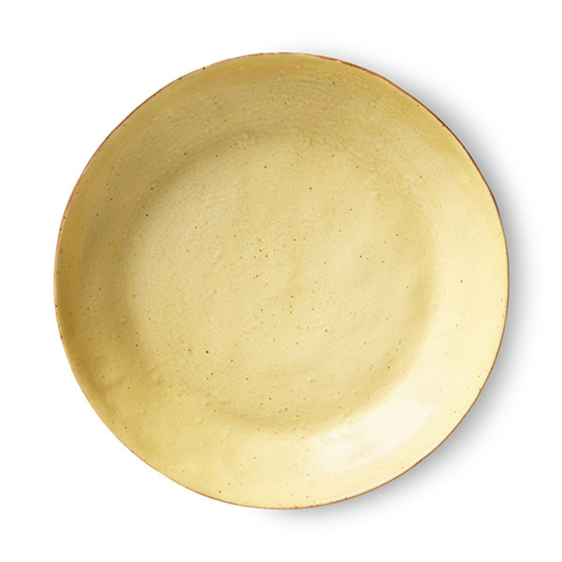 HKliving-collectie Bold & basic keramieks bijgerecht bord geel/bruin (set van 2)